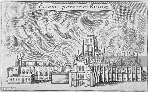 Old St Paul's Cathedral burning in the Great Fire of London, 1666.