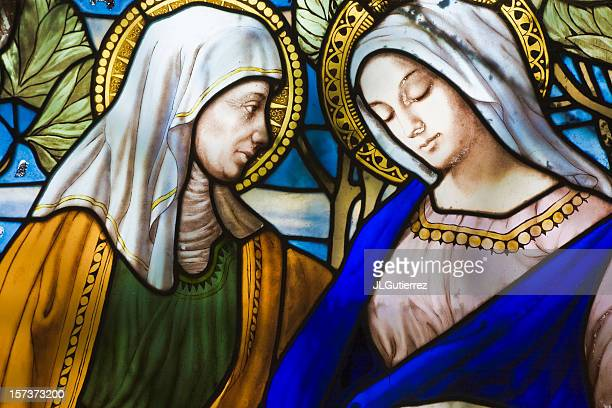 old stained glass - virgin mary stock photos and pictures