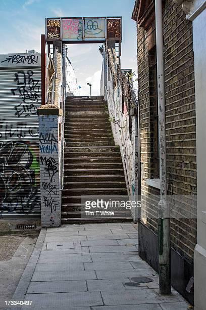 Old staircase with graffiti near Brick Lane, Shore