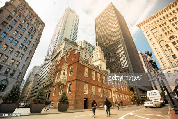 old state house in downtown boston massachusetts usa - boston massacre stock pictures, royalty-free photos & images