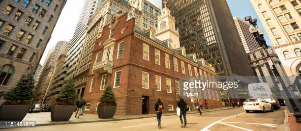 old state house panoramic in downtown boston massachusetts usa - boston massacre stock pictures, royalty-free photos & images