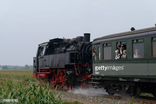 "old steam train pulling railway cars driving through the countryside. - ""sjoerd van der wal"" or ""sjo"" stock pictures, royalty-free photos & images"