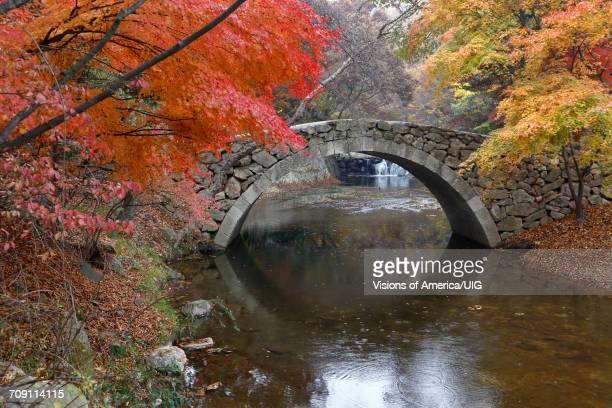 Old stone arched bridge at Namsangol traditional folk village