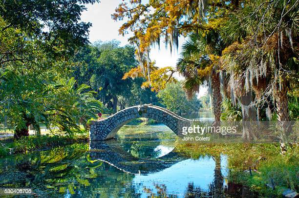 old stone bridge, city park, new orleans - louisiana stock pictures, royalty-free photos & images