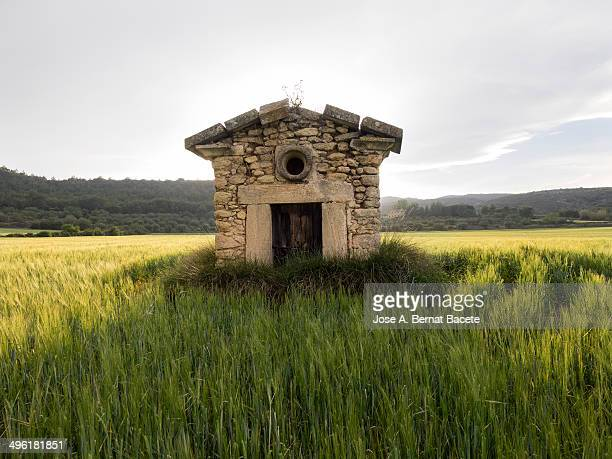 Old stone house on a green wheat field