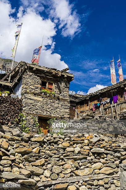 Old stone houses of the village Manang located above the Upper Marsyangdi valley