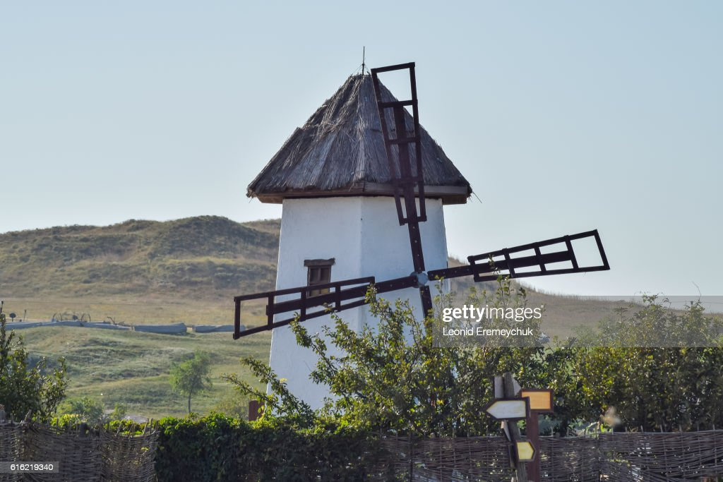 Old stone mill with a thatched roof : Stock-Foto