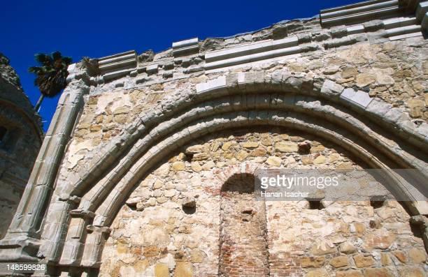 Old stone wall of Mission San Juan Capistrano.