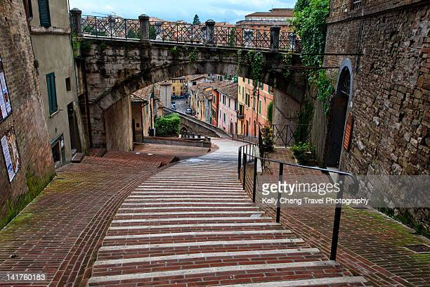 Old street and arch bridge in Perugia
