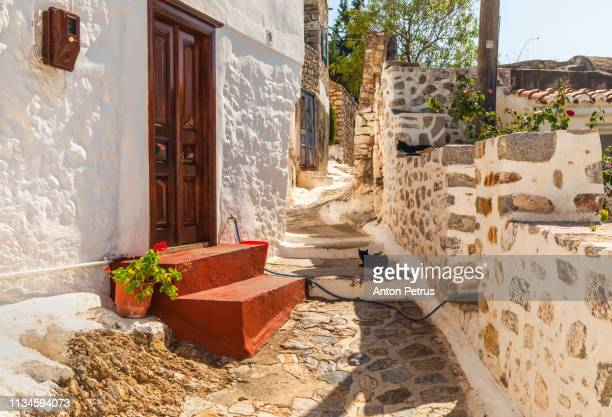old street of hydra island, greece - hydra greece photos stock pictures, royalty-free photos & images