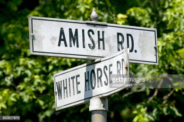 old street signs in lancaster county in pennsylvania - lancaster county pennsylvania stock pictures, royalty-free photos & images