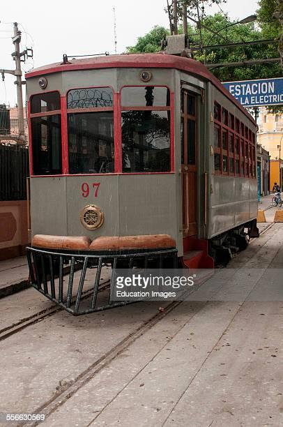 Old streetcar on display in Lima Peru