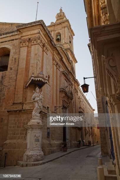 Old streets of Mdina, Annunciation Church at Dusk, Malta