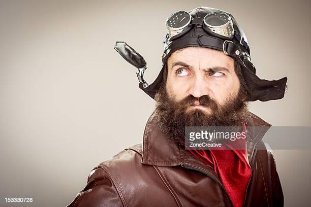 old style adventure pilot portrait with copyspace