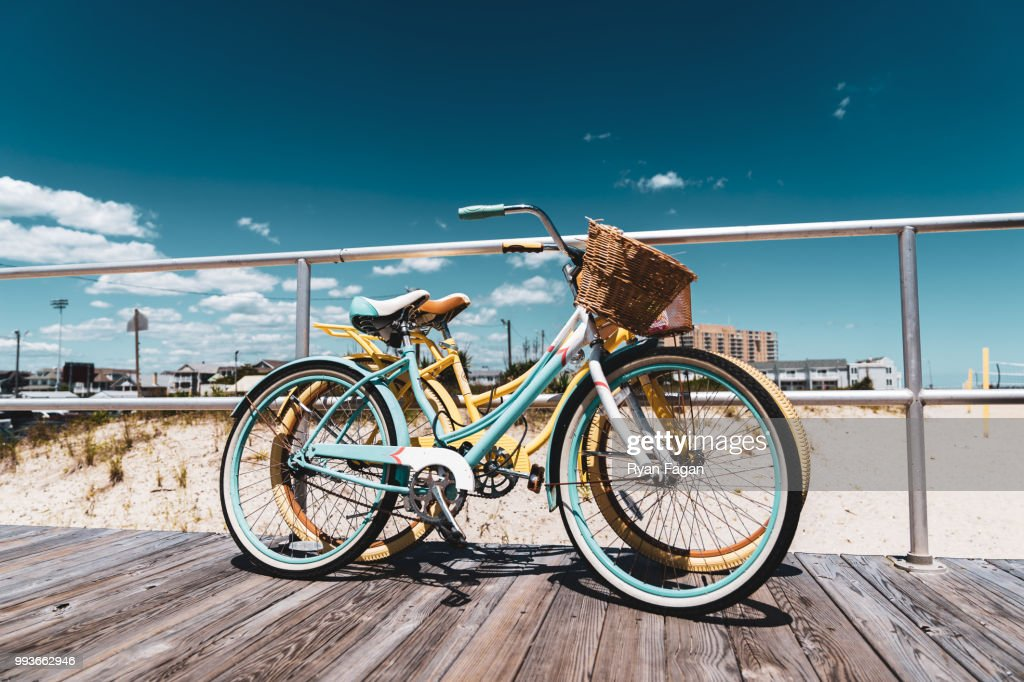 Old Style Bicycle on New Jersey Shore Boardwalk : Stock Photo