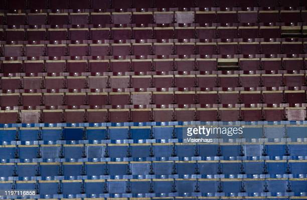 Old style seating in the Bob Lord stand before the Premier League match between Burnley FC and Manchester United at Turf Moor on December 28, 2019 in...
