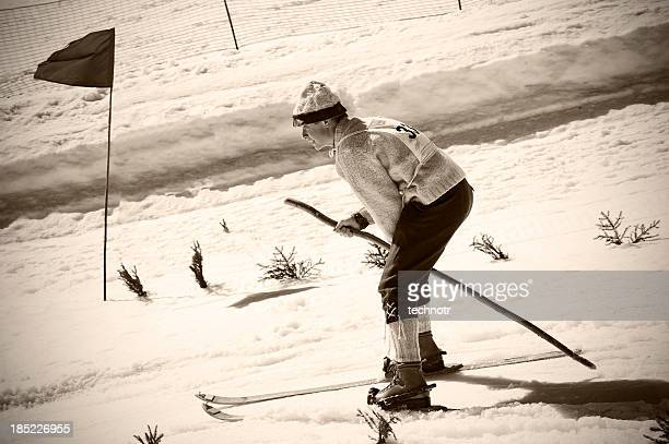 Old Style skiing competitor in action