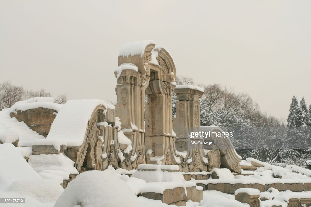 Old Summer Palace after snow : Stock Photo