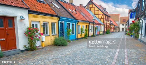 old swedish street - sweden stock pictures, royalty-free photos & images