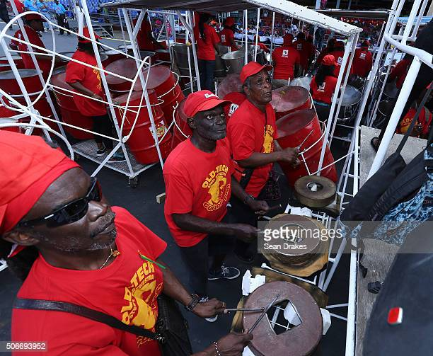 Old Tech Steel Orchestra performs at the semi-finals of Panorama in the Queen's Park Savannah during Carnival in Port of Spain, Trinidad on Sunday...