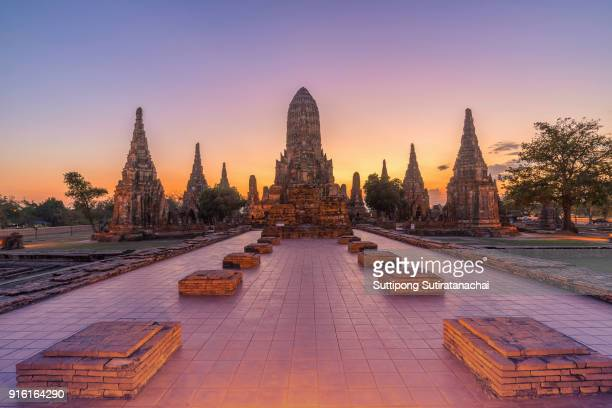 Old Temple, Wat Chaiwatthanaram Temple of Ayuthaya Province in twilight time ( Ayutthaya Historical Park ),Thailand