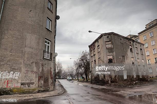 old tenement - eastern european stock pictures, royalty-free photos & images
