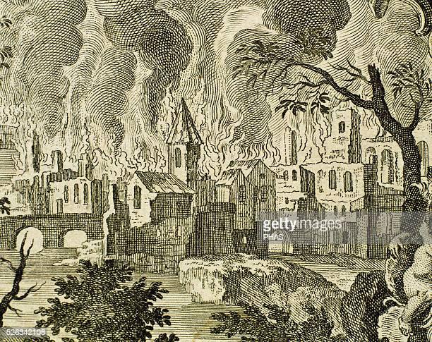 Old Testament Book of Genesis Episode of destruction of Sodom and Gomorrah Engraving