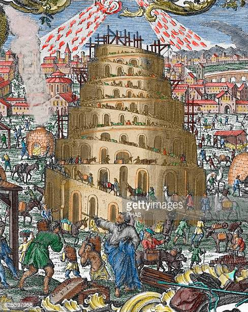 Old Testament Book of Genesis The Tower of Babel Engraving Colored