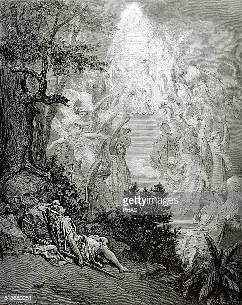 Old Testament Jacob Patriarch and prophet Jacob's Dream Genesis Chapter XXVIII Engraving by Gustave Dore 19th century