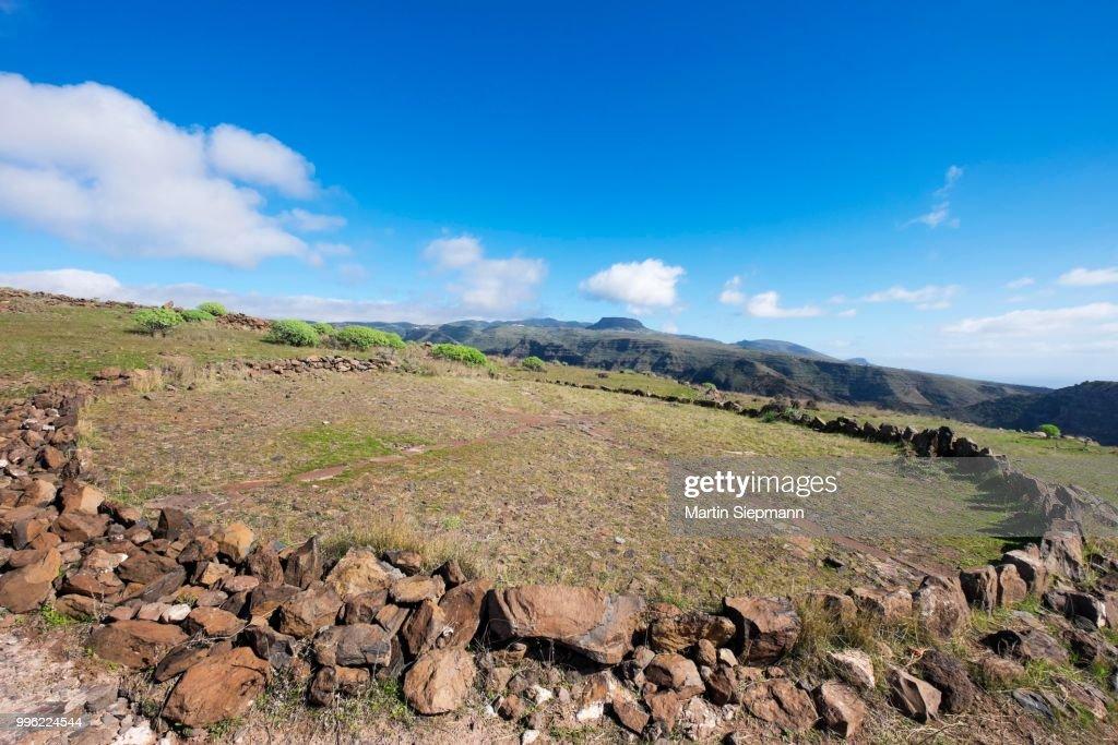 Old threshing floor, La Merica, Valle Gran Rey, La Gomera, Canary Islands, Spain : Stock Photo