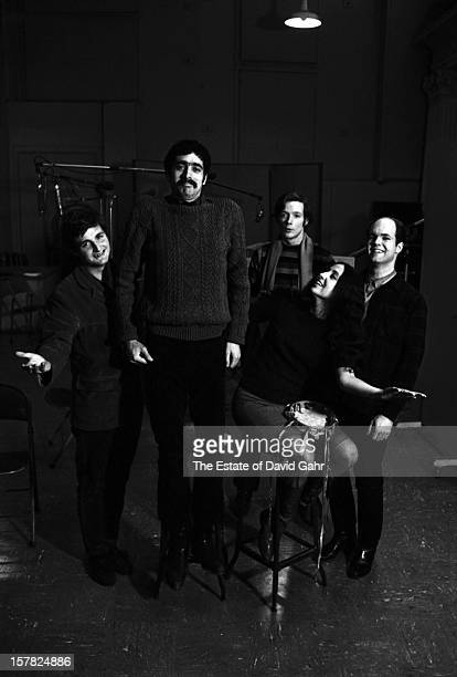 Old timey jug band the Jim Kweskin Jug Band pose for a portrait on March 2 1966 in the recording studios of Vanguard Records in New York City New York