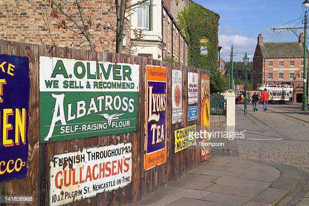 old tin advertising signs, beamish museum, county durham, england - museum stock pictures, royalty-free photos & images