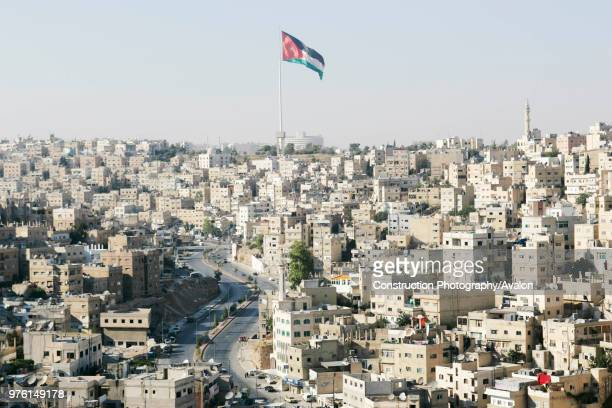 Old Town Amman, with Jordan Flag flying, Jordan.