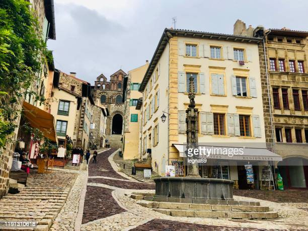 old town and cathedral in le puy en velay- france - le puy stock pictures, royalty-free photos & images
