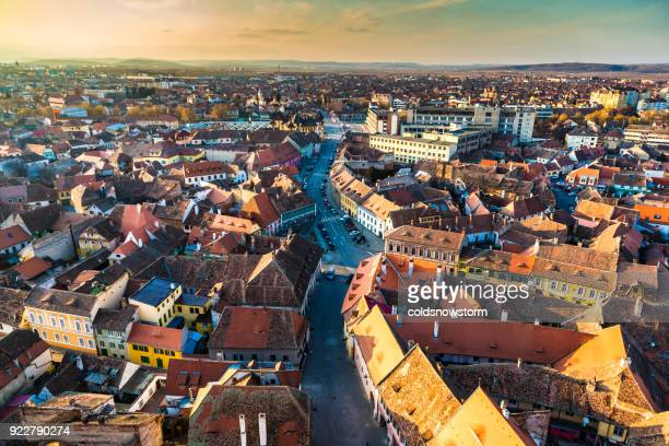 Old town and city skyline of Sibiu in Transylvania, Romania