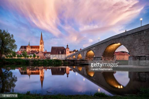 old town and danube river, regensburg, bavaria, germany - レーゲンスブルク ストックフォトと画像
