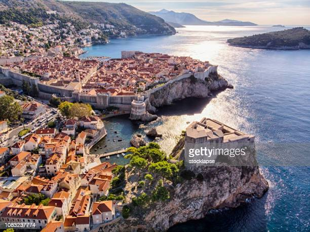 old town and fort lovrijenac aerial view in dubrovnik - old town stock pictures, royalty-free photos & images