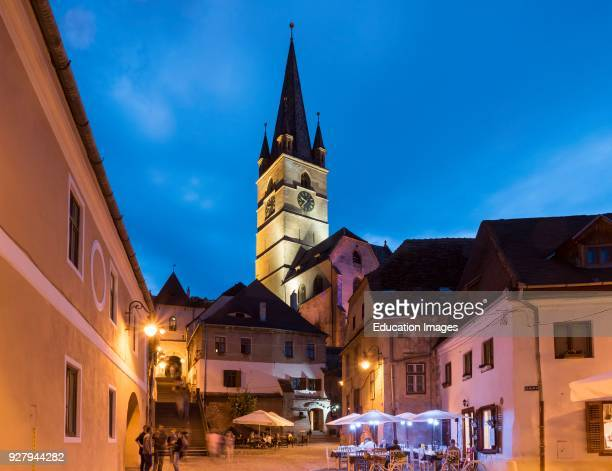 Old Town and Lutheran Cathedral by Night Sibiu Romania