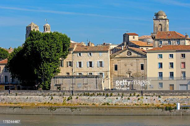Old town and River Rhone Arles Bouches du Rhone Provence France