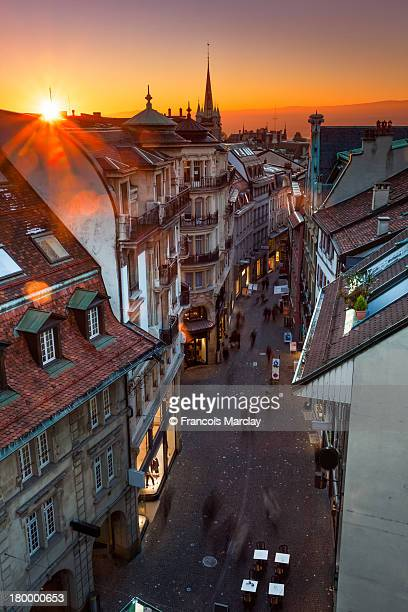 old town bourg street at sunset from rooftop - lausanne stock photos and pictures