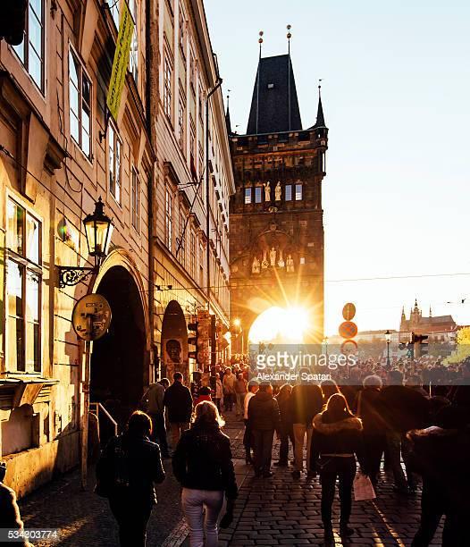 Old Town Bridge Tower seen at sunset, Prague, Czech Republic