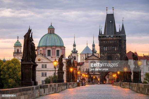 old town bridge tower - staroměstská mostecká věž, prague, czechia - charles bridge stock photos and pictures
