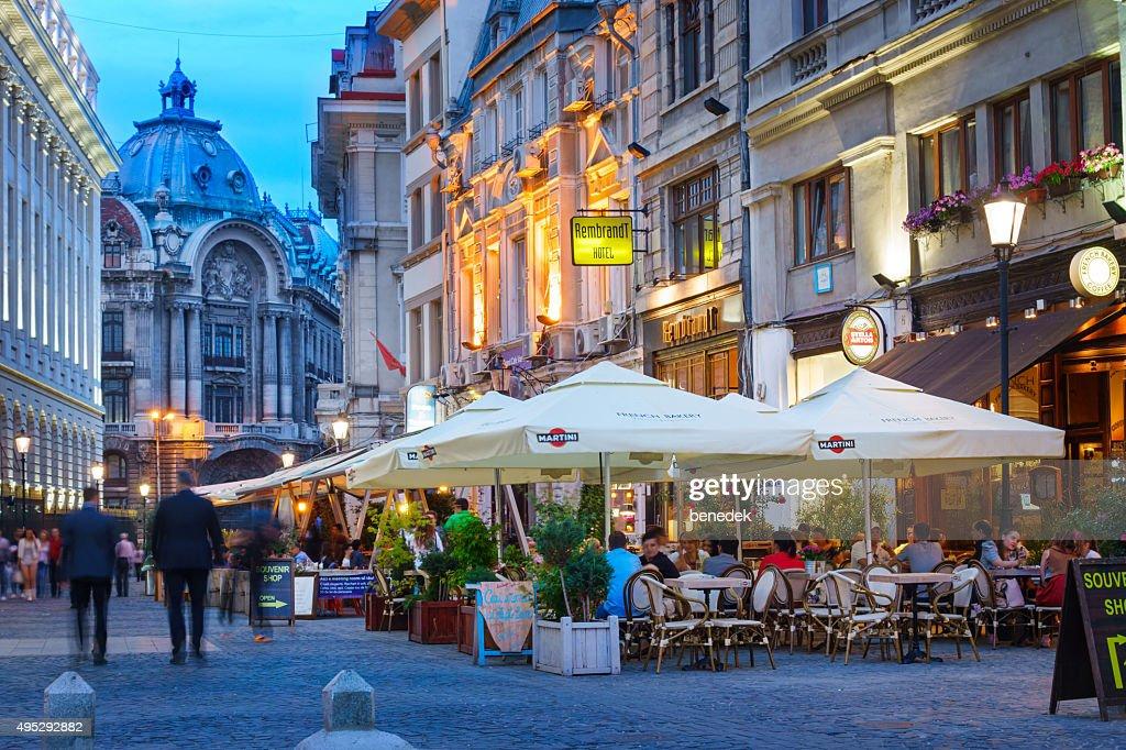 Old Town Bucharest Romania Nightlife : Stock Photo