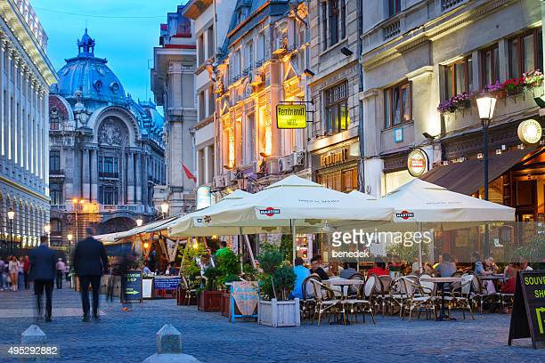 old town bucharest romania nightlife - bucharest stock pictures, royalty-free photos & images