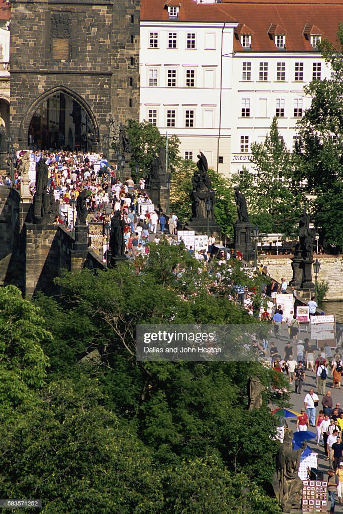 Old Town, Charles Street Bridge, East Tower, Prague, Czech Republic : Stock Photo