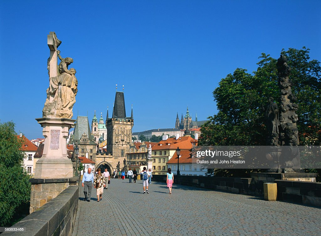 Old Town, Charles Street Bridge, West Tower, Prague, Czech Republic : Stock Photo