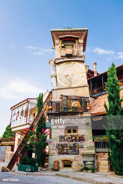 old town clock tower in tbilisi - dafos stock photos and pictures