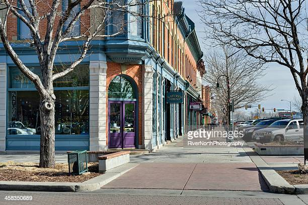 old town, fort collins, colorado - fort collins stock pictures, royalty-free photos & images