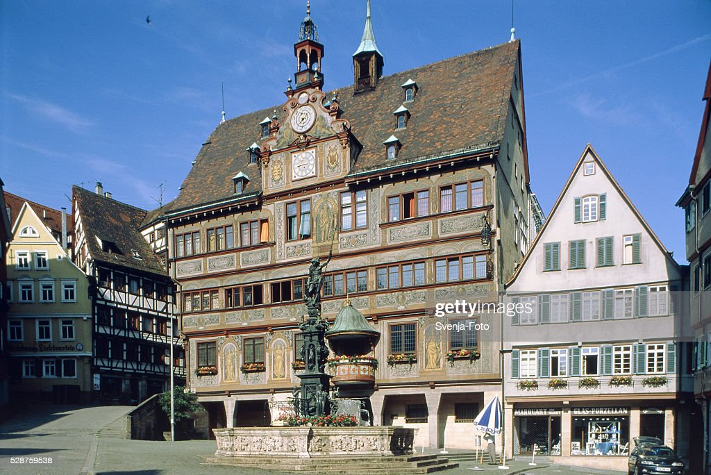 Old town hall and Neptun fountain in Tuebingen (Germany) : Stockfoto
