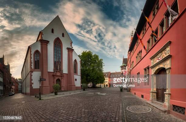 old town hall and st. martin is chruch in freiburg city, germany - freiburg im breisgau stock-fotos und bilder